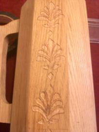 Fleur De Lis hand carved for Baron Sir Gernon Valletort de Harfleur. Carving by Baroness Maricka Sigrunsdotter. An Tir.