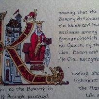A sample of scribal painting by Baroness Maricka Sigrunsdotter.