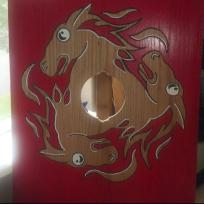 Carved and custom stainted with painted accent shield. Created by Baroness Maricka Sigrunsdotter.