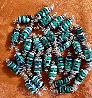 Historical beads with a custom color combination made for a Vigil. 2018 Made by Baroness Maricka Sigrunsdotter, An Tir
